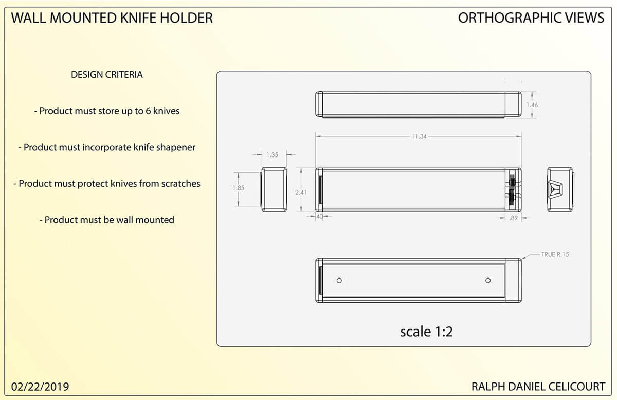 Wall Mounted Magnectic Knife Holder (2)